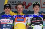 Das Podium der 68. Ö-Tour: Gesamtsieger Jan Hirt, flankiert von Guillaume Martin (li.) und Patrick Schelling (re.) (Foto: cyclinginside)