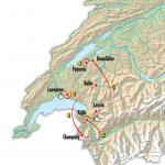 Die Karte mit den Etappenorten der Tour de Romandie 2017