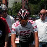 Fabian Cancellara auf dem Weg zum Start bei der 7. Etappe der Tour de Suisse 2008