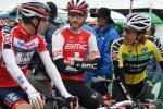 Fabian Cancellara mit seinen Landsleuten Martin Elmiger und Danilo Wyss vor dem Start der 2. Etappe der Tour de Suisse 2016