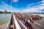 Das Peloton auf der Donaubrücke (Foto: Expa Pictures)