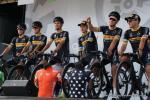 das Team Lotto-Kern Haus - hier vor dem Start der 1. Etappe in Koblenz - war eines von vier deutschen Continental-Teams das bei der Deutschland-Tour am Start war