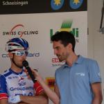 der Präsident der EKZ CrossTour - Christian Rocha - hier als Sprecher bei den Schweizer Straßenmeisterschaften im Interview mit Sebastien Reichenbach