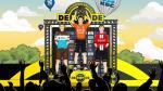 Das Podium der virtuellen Flandern-Rundfahrt: Oliver Naesen, Sieger Greg Van Avermaet und Nicolas Roche (Foto: twitter.com/RondeVlaanderen)