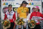 Siegerpodest des Abstädter Freuen-Rennens der 1. Etappe: Cantele (li.), Kupfernagel (mi.), Villumsen (re.) (Foto: http://frauen-etappenrennen.wsv-pfeffingen.de)