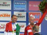 Der neue und alte Weltmeister Paolo Bettini mit Stefan Schumacher
