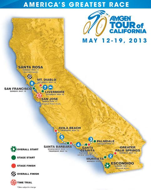 Etappenorte Amgen Tour of California 2013