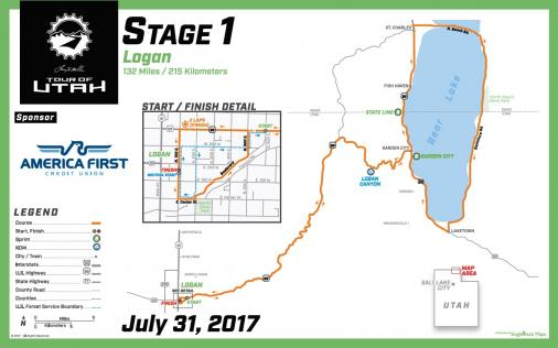 Streckenverlauf The Larry H. Miller Tour of Utah 2017 - Etappe 1