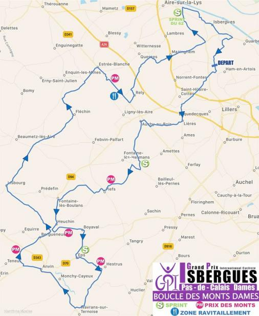 Streckenverlauf Grand Prix International d'Isbergues - Pas de Calais Féminin 2018